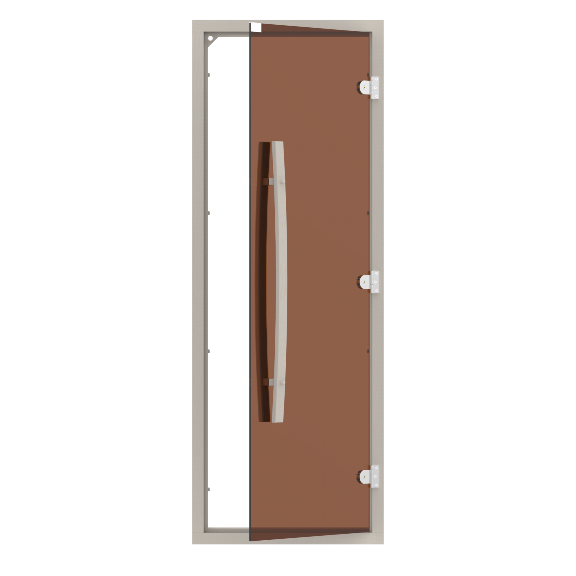 Двери: Комплект двери SAWO 741-4SGA-1 с бронзовым стеклом (осина, порогом, изогнутая ручка)