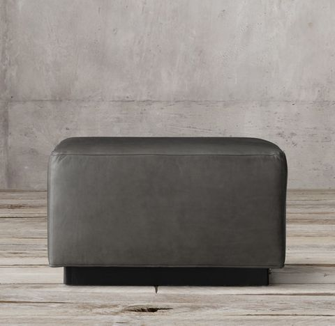 1950s Italian Shelter Arm Leather Ottoman