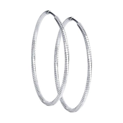 94140085 - Серьги-конго из серебра с алмазной гранью d55 мм
