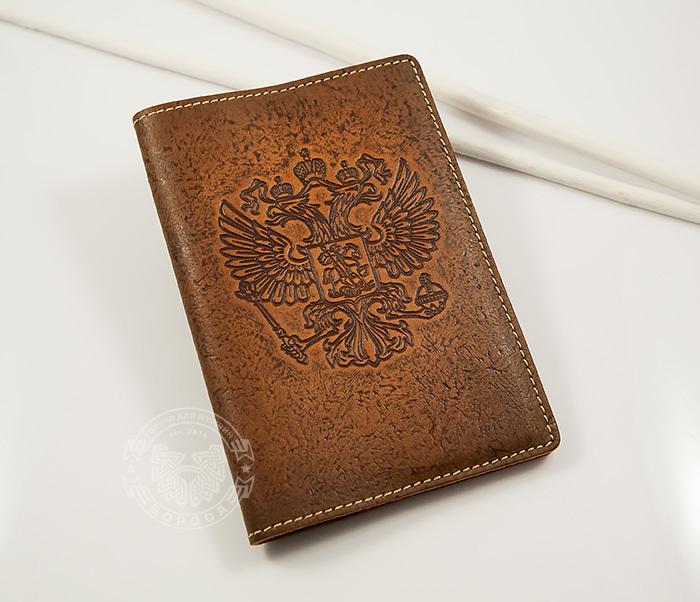 BY14-25-03 Кожаная обложка на паспорт с гербом России фото 01