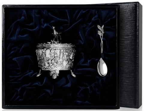 Серебряняа солонка «Охотничья-Глухарь» с чернением