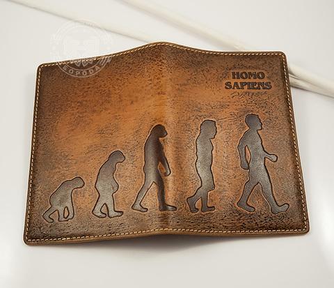 Обложка для паспорта «Homo Sapiens» из натуральной кожи