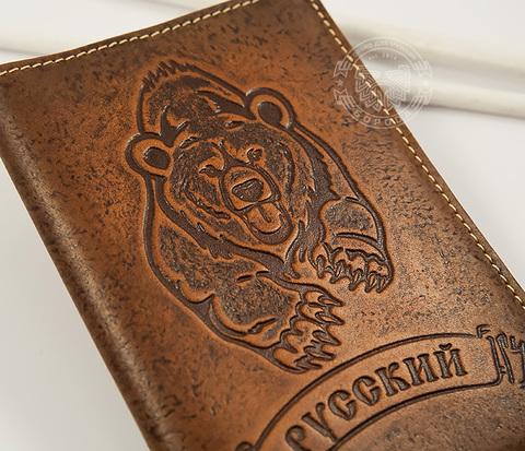 BY14-32-03 Обложка на паспорт &#34Русский&#34 из натуральной кожи
