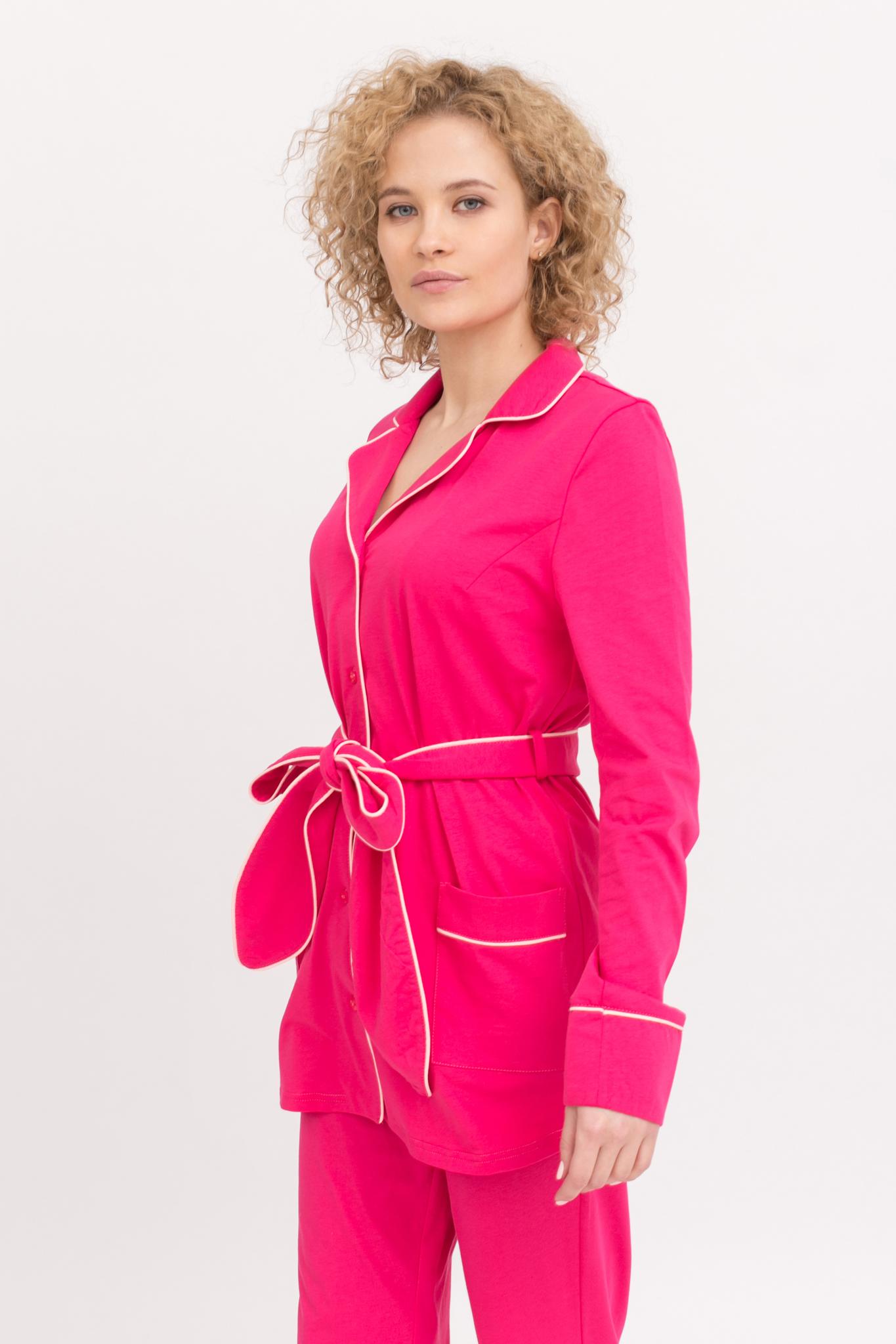 7e32a27b46b83f3 Пижама женская с брюками и длинным рукавом цвета Фуксия с поясом I ...