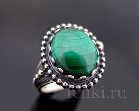 кольцо серебо и малахит_фото