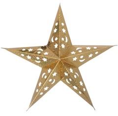 Звезда бумажная голографическая золотая (45см)