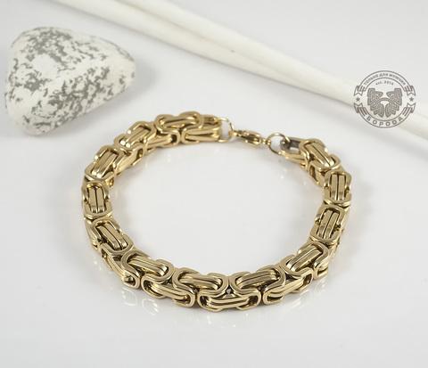 BM332 Стальной браслет золотого цвета квадратного сечения (21 см)