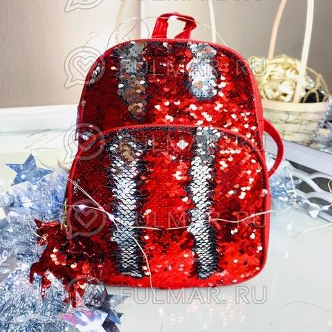 Рюкзак красный с пайетками меняет цвет Красный-Серебристый и брелок-единорог  модель Liza