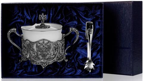 Набор серебряная сахарница «Герб» с чернением