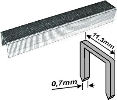 Скобы для степлера закалённые прямоугольные 11,3 мм х 0,7 мм  (узкие тип 53)  6 мм, 1000 шт. FIT 31306