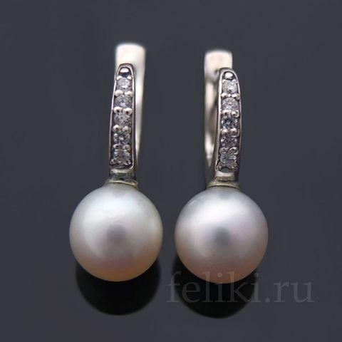серьги серебро с белым речным жемчугом_фото
