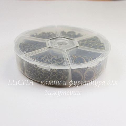Набор колечек одинарных (примерно 1650 шт) в контейнере (цвет - античная бронза) 4-10х0,6-1,2 мм