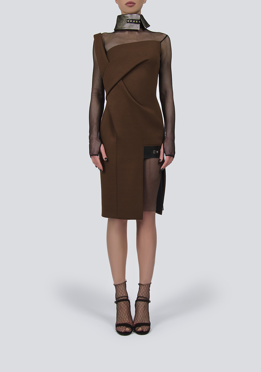 Платье коричневое миди с сеткой