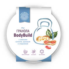 Гранола с семенами конопли, арахисом и спирулиной - Bodybuild Fast Brunch 80г