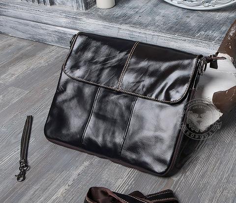 Тонкая мужская сумка портфель из натуральной кожи с ремнем