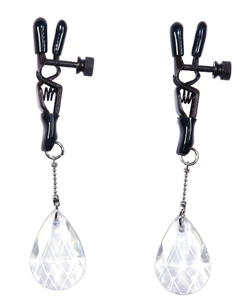 Интимные украшения: Зажимы на соски с подвесами в виде хрустальных капелек