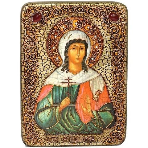 Инкрустированная икона Святая мученица Алла Готфская 29х21см на натуральном дереве, в подарочной коробке