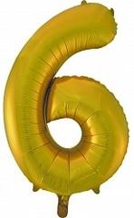 Шар (34''/86 см) Цифра, 6, Золото, 1 шт.