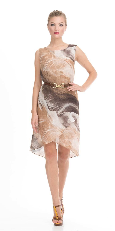 Платье З023-588 - Легкое платье бежево-коричневого цвета с оригинальным кожаным поясом отлично впишется в любой гардероб.Платье из льна и вискозы удачно делает акцент на достоинствах, и скрывает недостатки фигуры. Полукруглый вырез подчеркнет овал лица. Укороченная юбка спереди и более длинная сзади открывает красивые ноги. Кожаный пояс подчеркивает талию. Эта изящная модель сделает ваш образ легким и романтичным и подойдет на все случаи жизни.