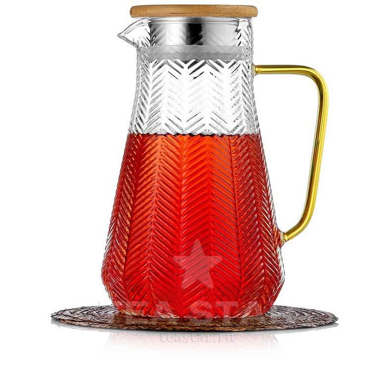 Кувшины, графины (для горячих и холодных напитков) Кувшин, графин для горячих и холодных напитков 1,5 литра, стеклянный Kuvshin-dlia-soka-i-kokteiley-4-002-1500-teastar.jpg