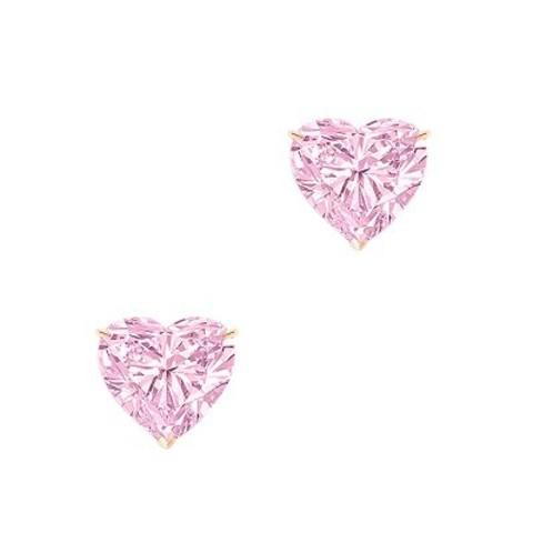 Пусеты HEART из серебра с розовыми цирконами, в стиле Ko Jewelry 4863