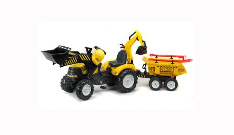 Трактор-экскаватор педальный с прицепом Yellow Power Loader 1000WH