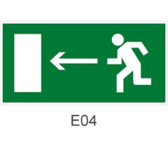 Знак Е04 направления движения к эвакуационному выходу налево