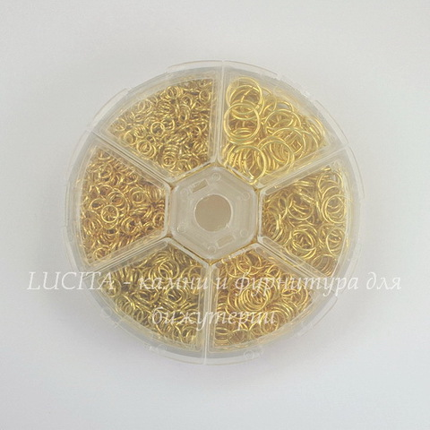 Набор колечек одинарных (примерно 1700 шт) в контейнере (цвет - золото) 4-10х0,7-1 мм