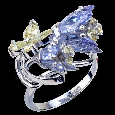 Кольцо с тюльпанами из циркония Арт.1192олл/о