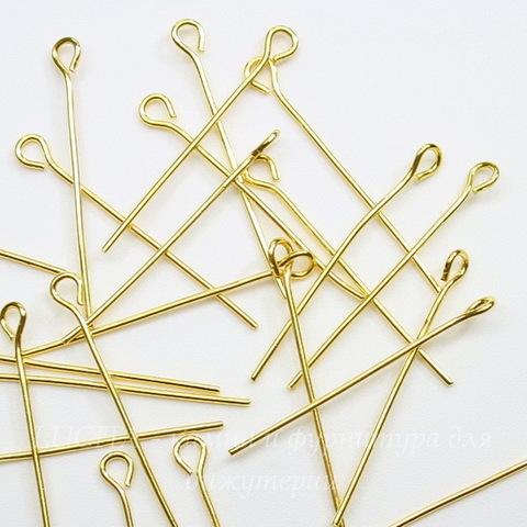 Комплект штифтов с петлей 30х0,7 мм (цвет - золото), 20 гр (примерно 160 шт)