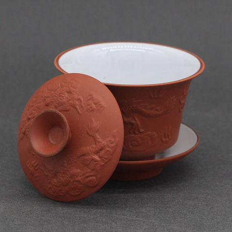 Гайвань рыжая глина с рельефным рисунком, глазурованная внутри, 100мл