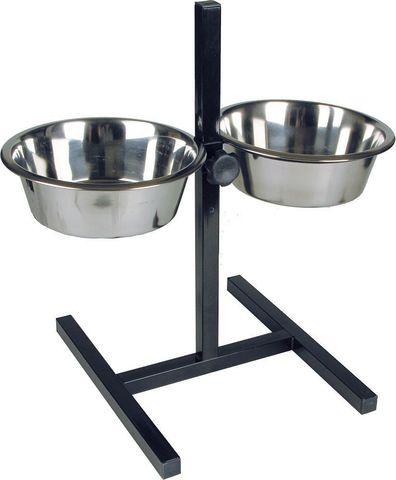 Подставка для кормления животных с двумя мисками из нержавеющей стали 0,75 л