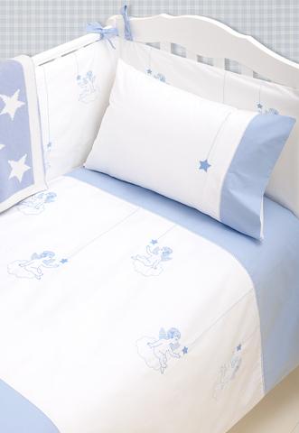 Детское постельное белье в кроватку Luxberry Angels голубое