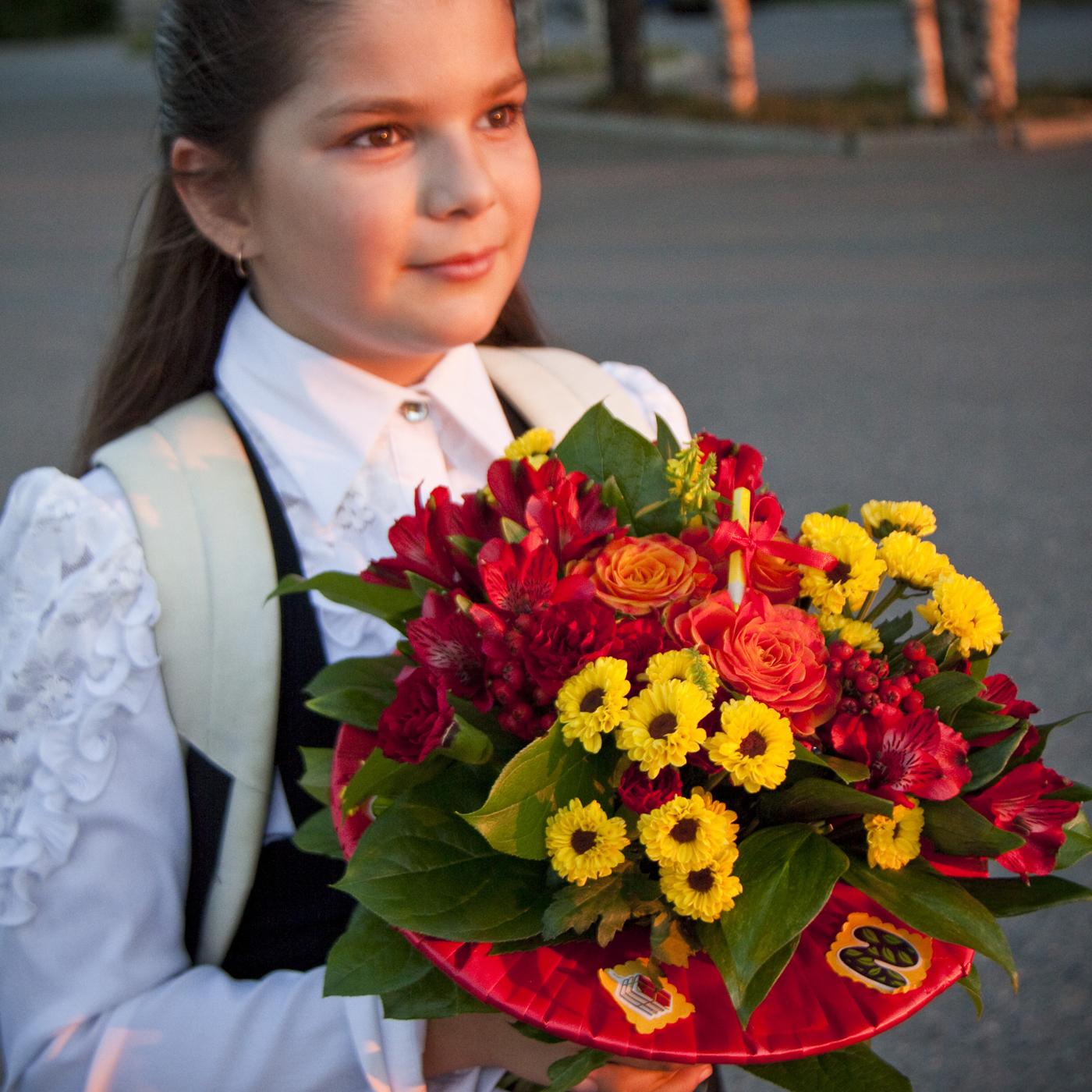 Букет школьный на каркасе СРЕДНИЙ