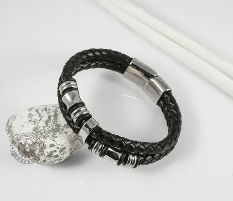 BM336 Необычный мужской браслет из кожи и стальных элементов на застежке с магнитом (18 см)