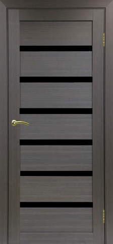 > Экошпон Optima Porte Турин 507.12, стекло лакобель чёрное, цвет венге, остекленная