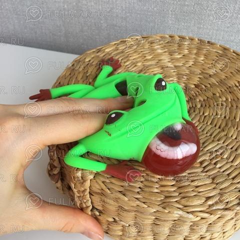 Игрушка-антистресс Жаба с красными лапками внутри с червями