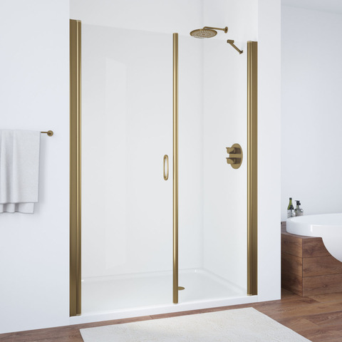 Душевая дверь в нишу Vegas Glass EP-2F профиль бронза, стекло прозрачное