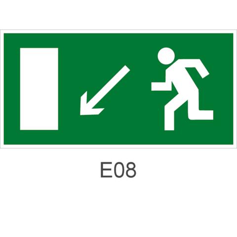 Знак Е08 движения к эвакуационному выходу налево вниз
