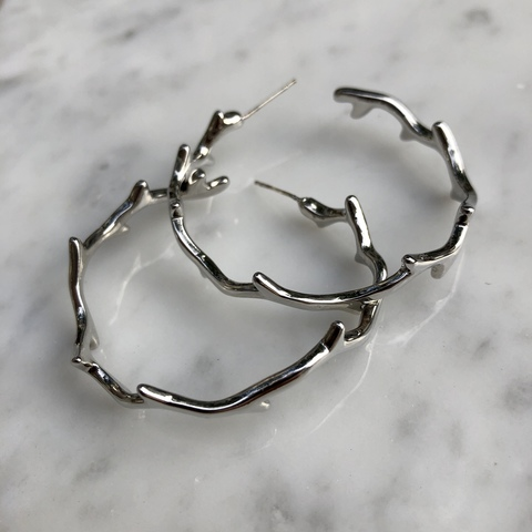 Серьги Баратена, серебряный цвет