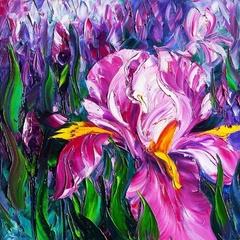 Лиловые ирисы- алмазная картина