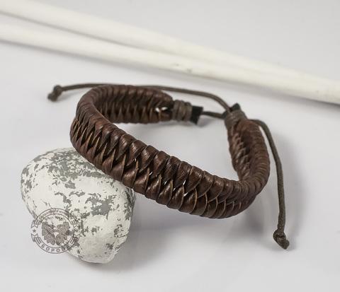 BL356-4 Плетеный мужской браслет из натуральной кожи коричневого цвета