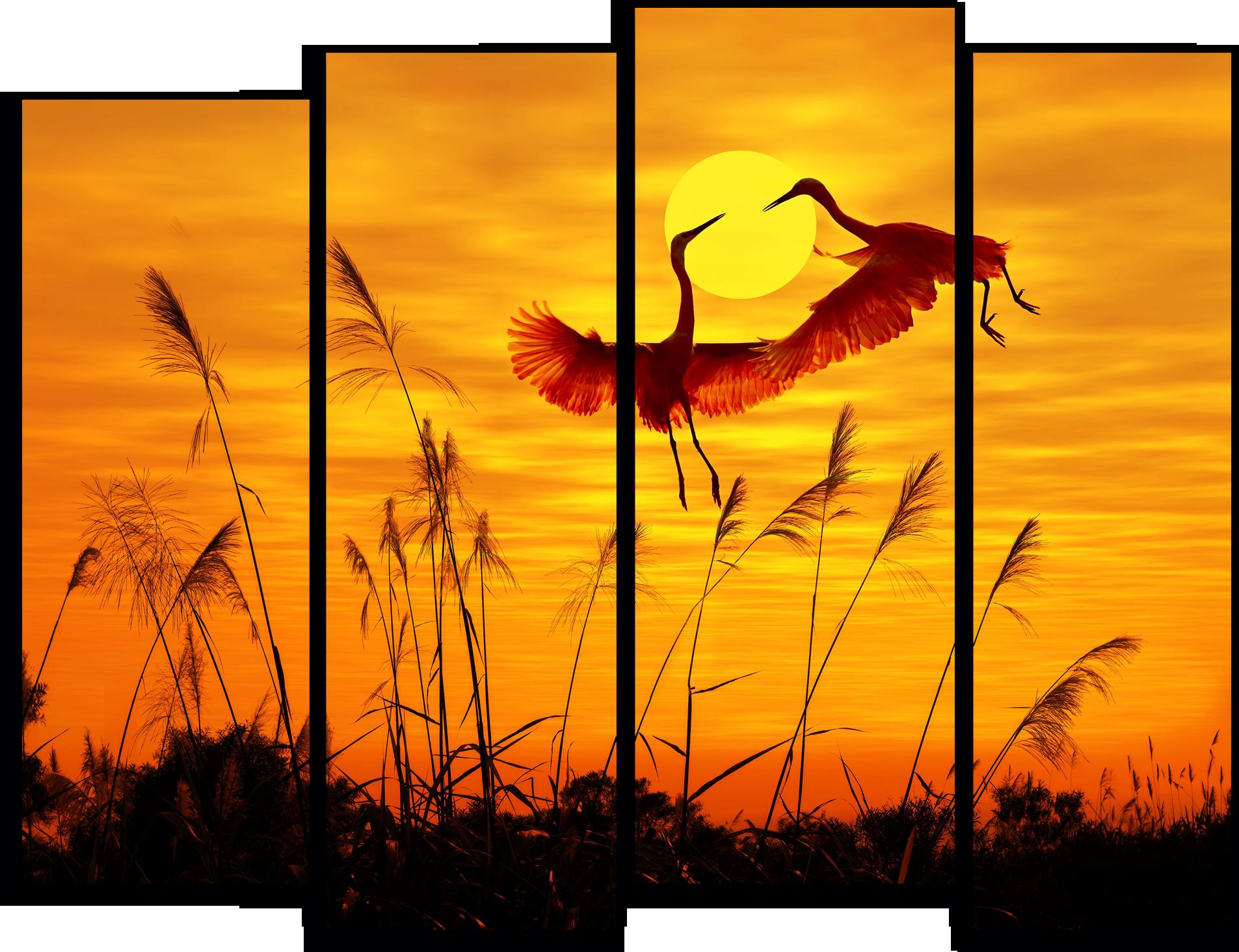 """Природа Модульная картина """"Журавли на закате"""" М787.png"""