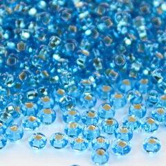 Бисер 10/0 Preciosa прозрачный голубой с серебряным центром (кв. отв.)