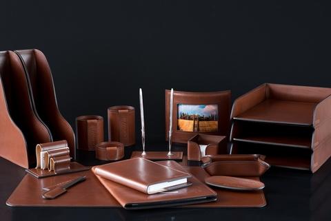 Набор для руководителя в кабинет из кожи Full Grain Toscana Таn 18 предметов
