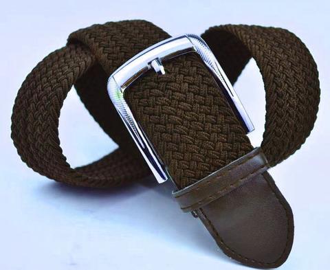 Ремень-резинка мужской текстильный коричневый 40мм