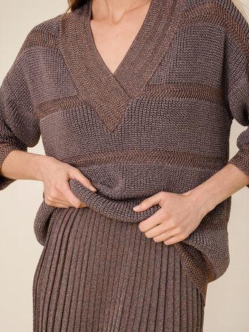 Женский джемпер коричневого цвета из вискозы - фото 4