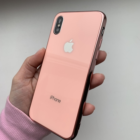 Чехол iPhone XS MAX Glass Case Logo /pink/