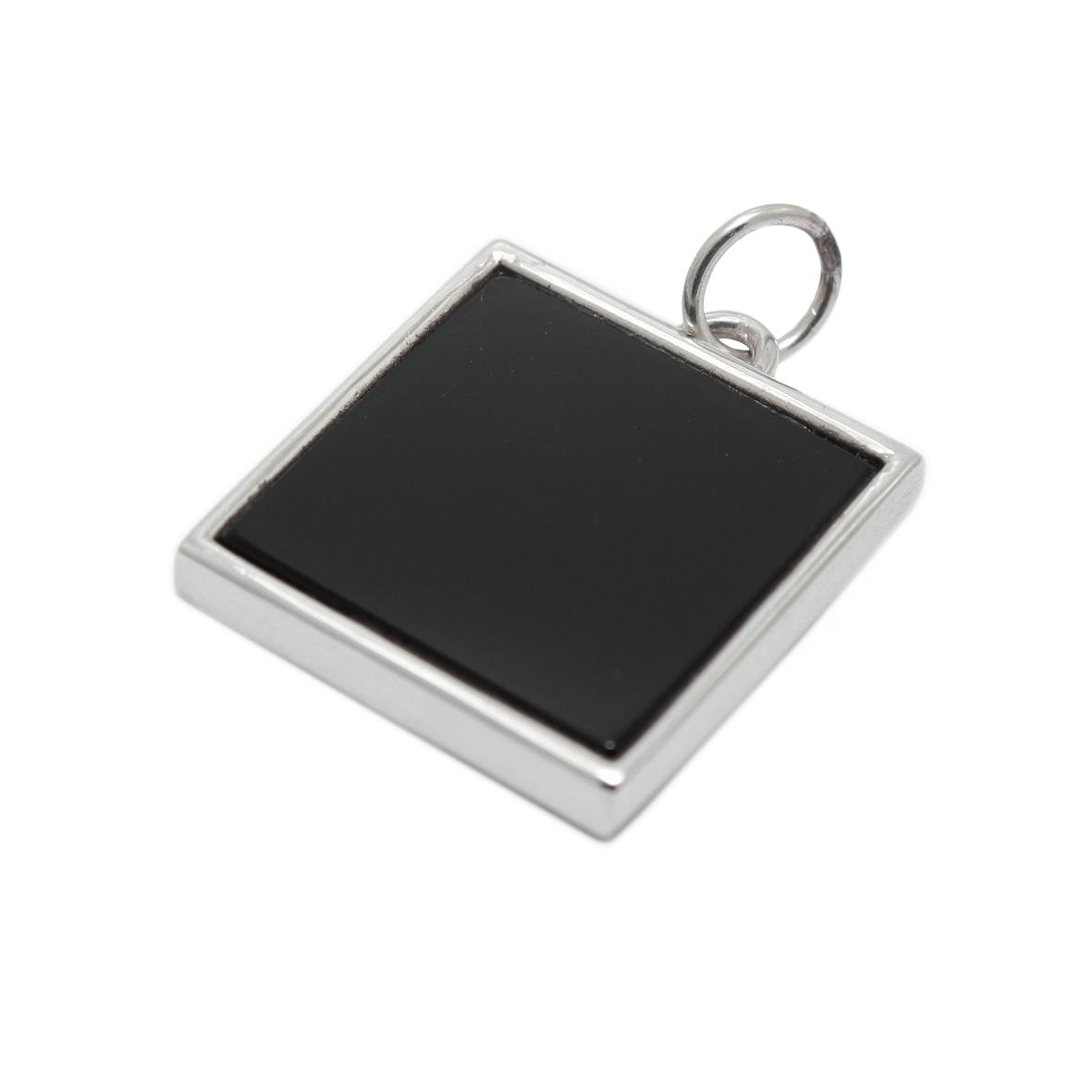 Серебряная подвеска с черным обсидианом