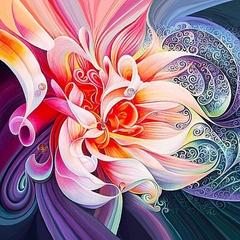 Абстрактный цветок- алмазная картина